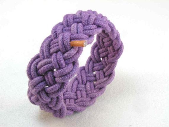 purple turks head knot rope bracelet adjustable size 2116