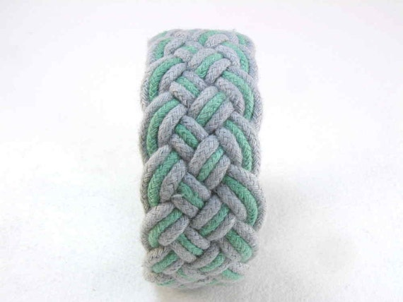 turks head knot rope bracelet in fog and teal large 2910