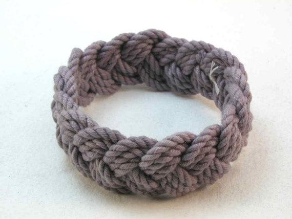 grey cotton turks head knot rope bracelet medium nautical bracelet sailor bracelet 3133