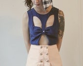 Sale - Here Kitty Kitty - High Waisted Shorts - Peach Size 2 - Ready To Ship