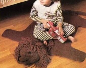 Vintage Crochet Pattern Lion Rug