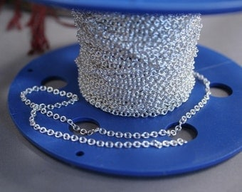 Silver plated over BRASS cable chain 2.2mm  by the foot