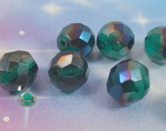 Czech Glass 12mm faceted FirePolish round beads Teal Green/Blue Iris Rainbow 8pc