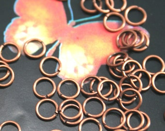 19 Gauge Antique Copper plated Brass Jump ring connector brass findings 6mm100pc