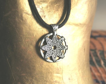 Celtic Knotwork Pewter Pendant Celtic Angel Star Charm Eight Point