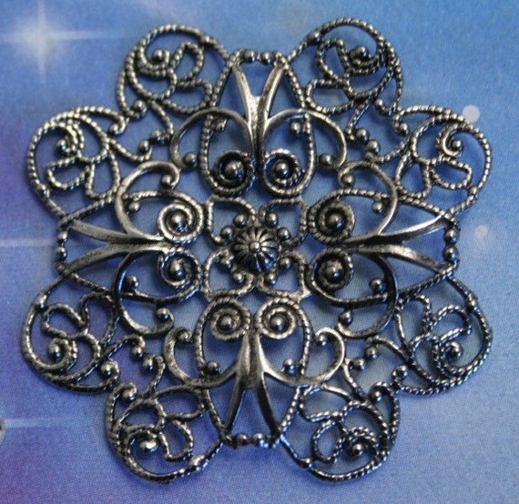 Filigree Petal Flower 49mm Antiqued silver BRASS Stamping