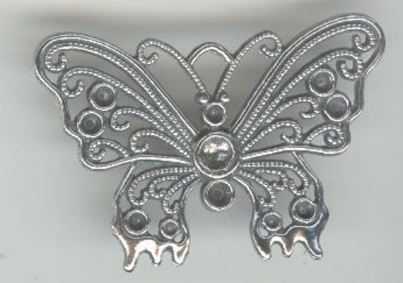 Pewter Butterfly with settings for rhinestones pendant charm pin