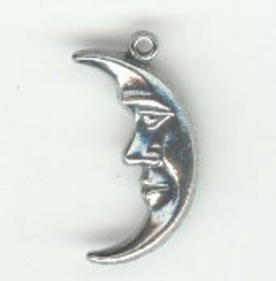 3pc Small Moon Face pewter charm pendant