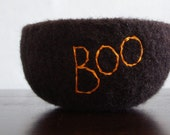 boo bowl- fuzzy black felted wool bowl with boo embroidered in cotton