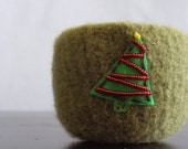 O Christmas tree -fuzzy felted olive green wool bowl with embroidered eco felt pine tree with ruby red bead garland