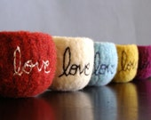 choose your colors - custom tiny felted wool bowl with love embroidered in cotton