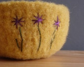 reserved for tspdddd- fuzzy felted yellow felted wool bowl with embroidered purple flowers