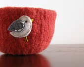 fuzzy felted cranberry red wool bowl with eco felt cream and grey bird