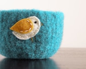 fuzzy felted turquoise blue wool bowl with eco felt white and mustard yellow bird