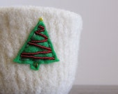 O Christmas tree -fuzzy felted cream white large wool bowl with embroidered eco felt pine tree with metallic red bead garland
