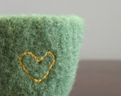 felted bowl -fuzzy felted sage green wool bowl with golden embroidered heart