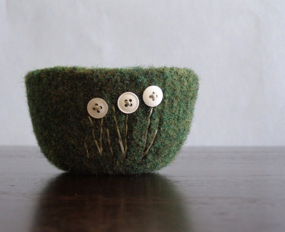 fuzzy felted forest green wool bowl with paperwhites embroidered in cotton