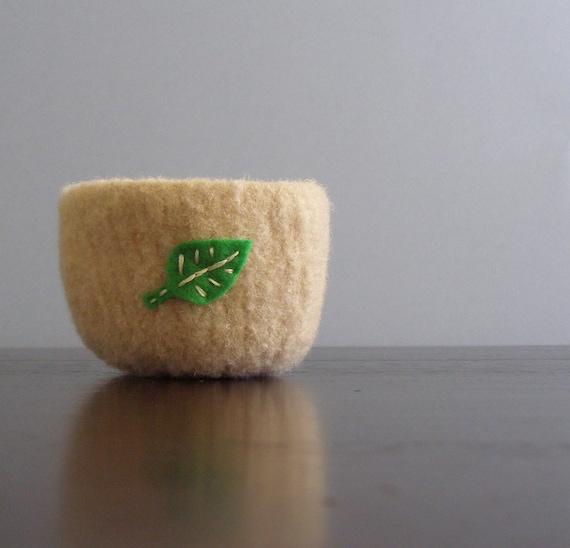 fuzzy tan felted wool bowl with eco felt green leaf