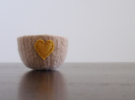 felted bowl -fuzzy felted nougat brown wool bowl with golden eco felt heart - ring holder, catch all, hostess gift, anniversary gift