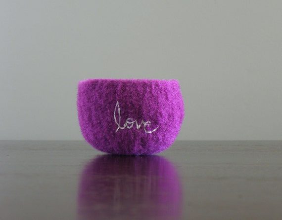 """felted tiny columbine purple wool bowl with white """"love"""" embroidered in cotton - stocking stuffer, ring holder, barrette holder"""