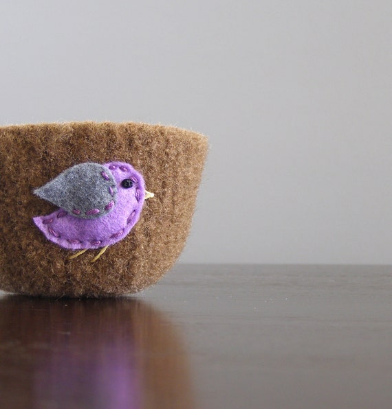fuzzy felted milk chocolate brown wool bowl with eco felt lavender and grey bird - hostess gift, bird watcher, teen, mother gift