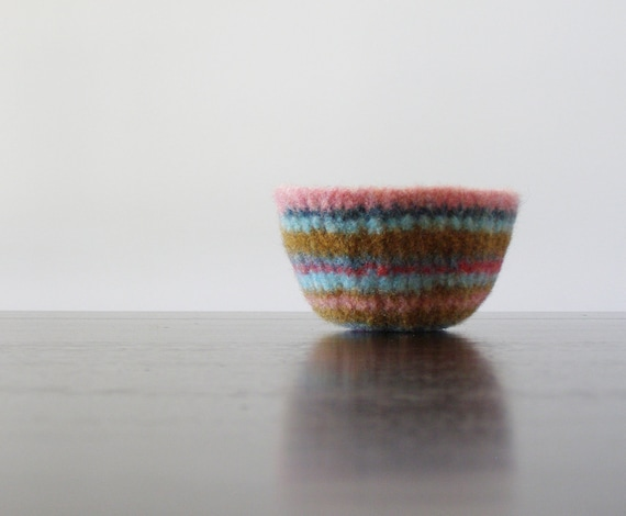 felted wool striped bowl - felt wool shallow bowl with pastel stripes - summer inspired, jewelry holder, candy bowl, desk organizer