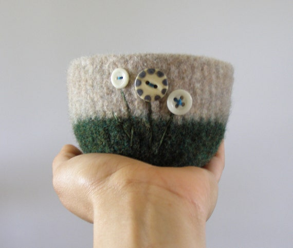 felted wool bowl - forest green and beige wool with cream and navy vintage ceramic buttons -  desk organizer, office container