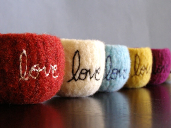 """choose your colors - custom tiny felted wool bowl with """"love"""" embroidered in cotton - ready in 2 weeks - custom and personalized"""