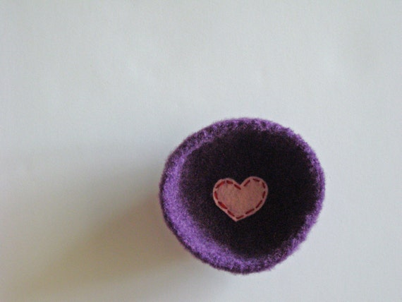 felted wool dish - fuzzy grape purple shallow bowl or dish with pale pink heart - ring holder or desk organizer