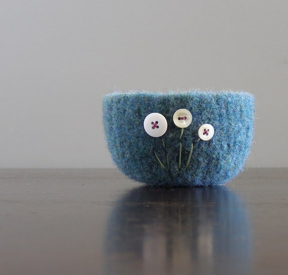 felted wool bowl -  jade/teal felted wool bowl with white flowers - back to school desk organizer - teacher gift
