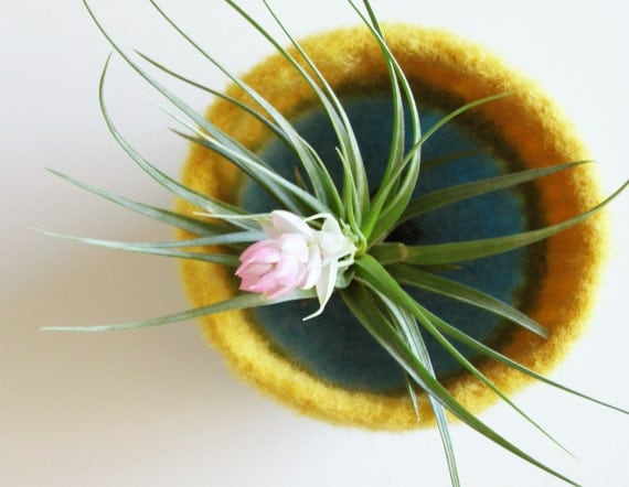 felted wool striped bowl - pastel stripes in yellow, green, cream, and aqua - spring inspired felted bowl