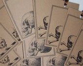 Skull, Gothic Kraft Gift Tags set of 12