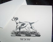 Personalized note cards Pointer Hunting Dog Black and Ivory Stationery Stationary Set of 10 Great Gift