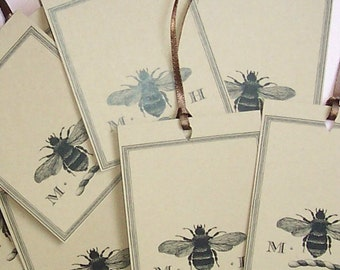 Bee Napoleonic 18 Personalized Gift Tags with Two Letter Monogram on Brown Kraft Cardstock Honey Bee Rustic Vintage Inspired Gift Tags