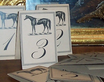 Horse Wedding Table Numbers Equestrian LARGE Cards Kraft or Cream Set 12 Wedding Country Barn Farm Rehearsal Dinner Reception Racing Decor