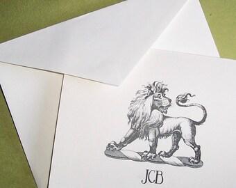 Lion Personalized Monogrammed Note Cards Stationery Stationary African Cat Set Black Ivory Set 10 Horoscope Leo Zodiac Vintage Heraldry Art
