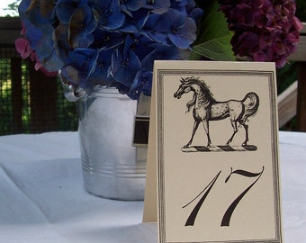 Equestrian 3 Horse Wedding Table Number Large Card in Kraft or Cream Set 18 Vintage Inspired Wedding Decor Reception Rehearsal Dinner