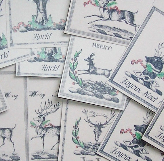 Stag Deer Hand Colored Christmas Gift Tags, Set of 12