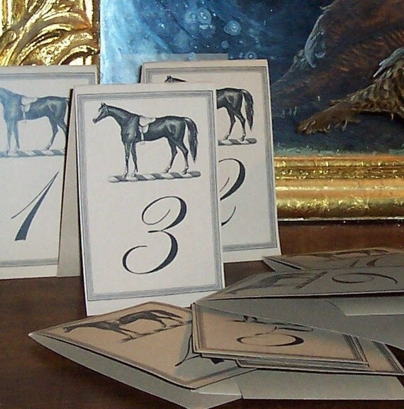 Equestrian Vintage Inspired Horse Handmade LARGE Table Number Cards in Kraft Set of 12 Wedding Decor