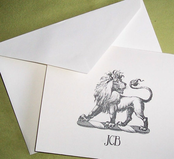 Lion Personalized Monogrammed Note Cards  Stationery Stationary African Cat Set Black Ivory Set 10 Horoscope Leo Zodiac VIntage Heraldry Art