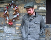 SALE herringbone wool mens coat