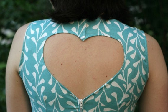 Custom Bridesmaid Dress for Megan P.- Teal Ikat Dress with Heart Cut Out Back