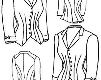 "Victorian Style Ladies 1880 Jacket Bodice Sewing pattern 30-50"" Bust"