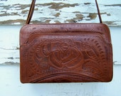 Tooled Leather Handbag 1967 Flores Bags Leather Purse