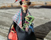 Marie Laveau Voodoo Queen Doll 1930's Artisan-made Wire & Cloth with Original Tag