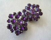 Estate Jewelry Vintage Earrings Dark Purple Crystal Clip Ons