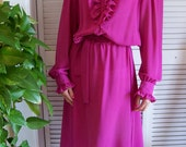 Vintage Dress, Ruffled China Pink Ms. Chaus Design House Day Dress on sale was 35.00