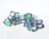Vintage Earrings , Coro Clip On Stained Glass Style Blue Flowers on sale was 7.00