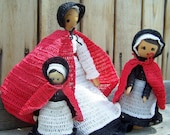 Vintage Dolls ,Wood Peg Dolls ,Instant Collection Red Cape Clothes Pin Folkart Dolls, on sale was 26.50