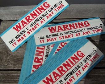 Vintage Industrial Warning Sticker W.H. Brady 1958 W.H. Brady Co. 1958 Milwaukee Wis 9 Inch Retro Sticker